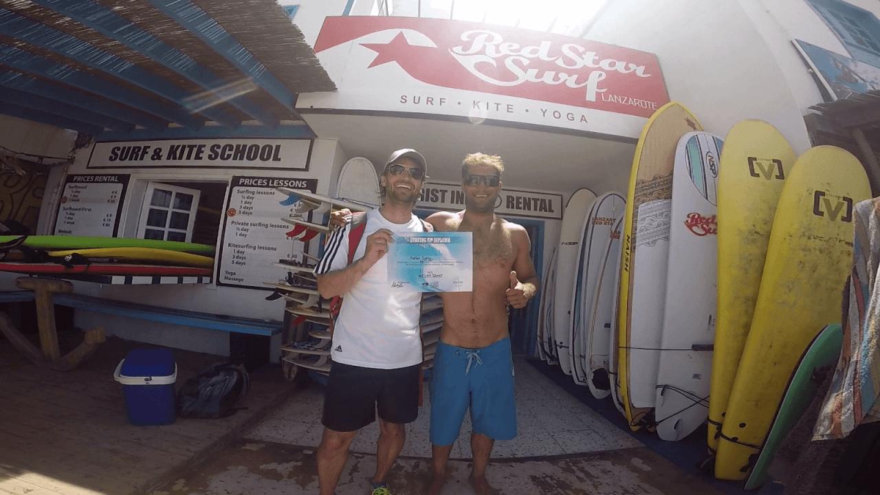 Obtention du certificat de surf à la fin des 5 jours de cours