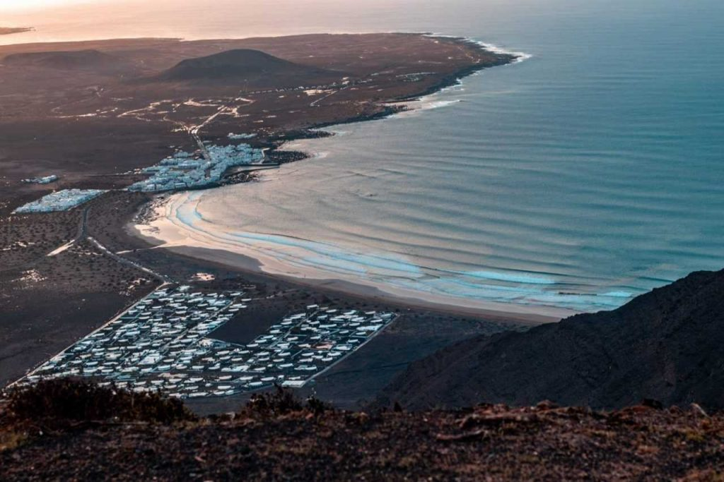 View of beach on Lanzarote from above